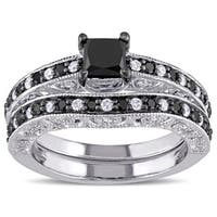 Miadora Sterling Silver 1 1/4ct TDW Black and White Diamond Bridal Ring Set