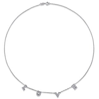 Miadora Silver 1/10ct TDW Diamond LOVE Charm Necklace