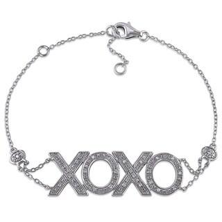 Miadora Sterling Silver 1/10ct TDW Diamond XOXO Hug and Kiss Charm Bracelet (G-H, I2-I3)