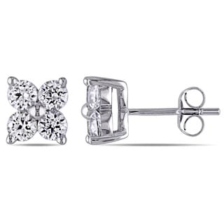Miadora 10k White Gold Created White Sapphire Flower Stud Earrings