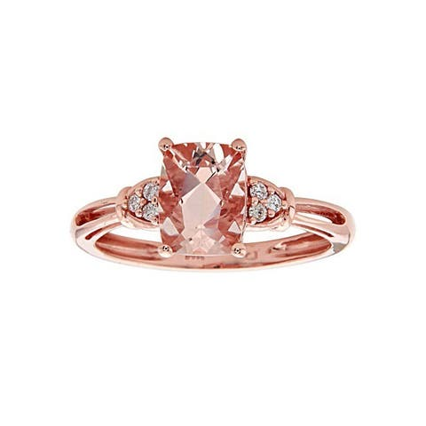 Anika and August 14K Rose Gold Cushion-cut Morganite and Diamond Ring