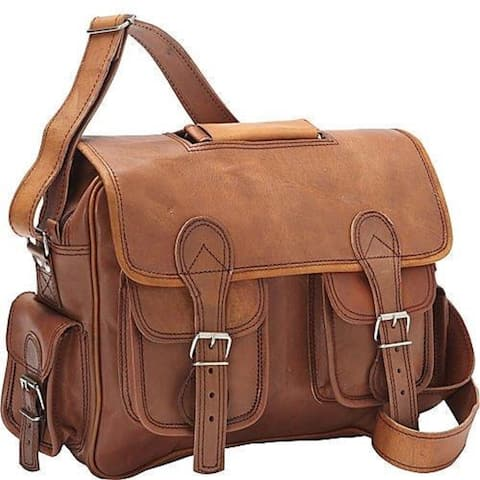 Sharo Brown Leather 13-inch Laptop Messenger Brief