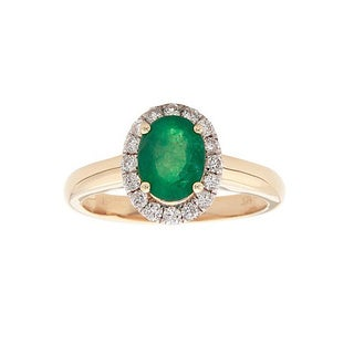 Anika and August 14k Yellow Gold Oval-cut Emerald and 1/3ct TDW Diamond Ring (G-H, I1-I2) (Size 7)
