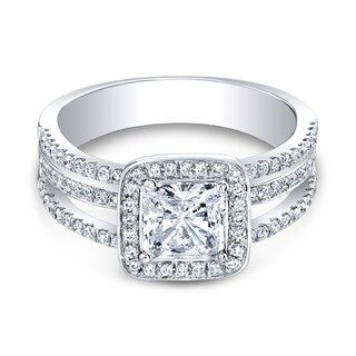 18K White Gold CZ and 3/8ct TDW Diamond Halo Three-row Engagement Ring