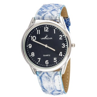 Via Nova Women's Silvertone Case / Blue Snake Skin Strap Watch