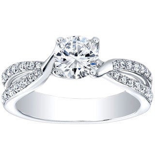 18K White Gold 1/3ct TDW Round-cut Cubic Zirconia and Diamond Accent Twisted-shank Engagement Ring (H-I, I1-I2)