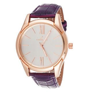 Via Nova Women's Rose Case / Purple Leather Strap Watch