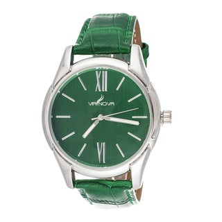 Via Nova Women's Silvertone Case / Green Leather Strap Watch