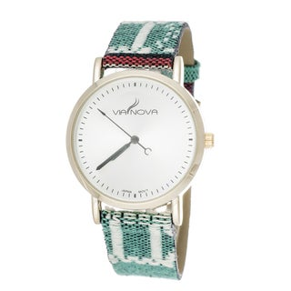 Via Nova Women's Goldtone Case / Green & Red Canvas Strap Watch