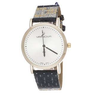 Via Nova Women's Goldtone Case / Black Canvas Strap Watch
