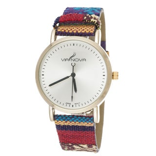 Via Nova Women's Goldtone Case / Red and Blue Canvas Strap Watch
