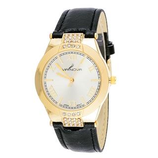 Via Nova Women's Goldtone Case Cubic Zirconia CZ / Black Leather Strap Watch
