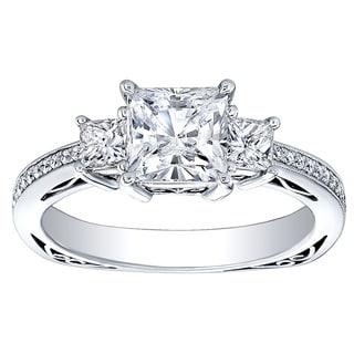 18K White Gold 3/4ct TDW Princess-cut CZ and Diamond Three-stone Engagement Ring (H-I, I1-I2)