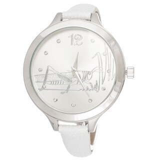 FORTUNE NYC Women's Silvertone Case Frasshopper Dial / White Leather Strap Watch