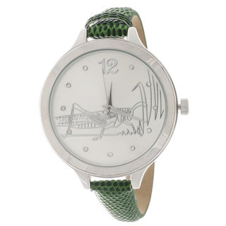 FORTUNE NYC Women's Silvertone Case Green Leather Strap Watch