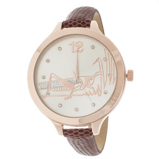 FORTUNE NYC Women's Rose Case Brown Leather Strap Watch