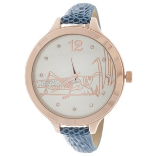 FORTUNE NYC Women's Rose Case Blue Leather Strap Watch