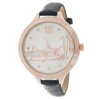 FORTUNE NYC Women's Rose Case Frasshopper Dial / Black Leather Strap Watch