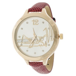 FORTUNE NYC Women's Goldtone Case Red Leather Strap Grasshopper Watch