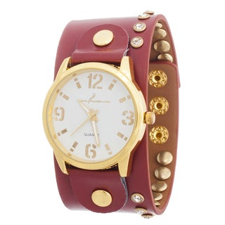 Via Nova Women's Goldtone Case / Red Leather Stud Strap Watch