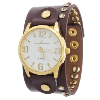 Via Nova Women's Goldtone Case / Brown Leather Stud Strap Watch