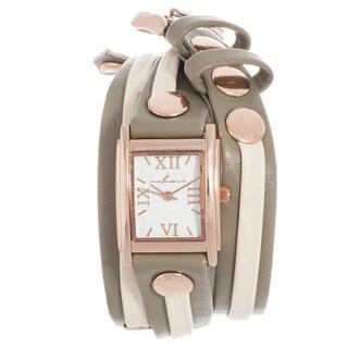 Via Nova Women's Rose Case Grey and Beige Leather Stud Double Wrap Watch