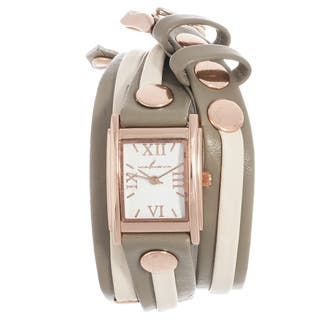 Via Nova Women's Rose Case Grey and Beige Leather Stud Double Wrap Watch|https://ak1.ostkcdn.com/images/products/10075925/P17219462.jpg?impolicy=medium