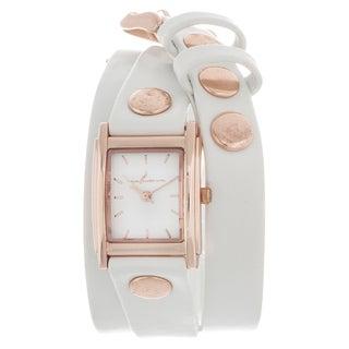 Via Nova Women's Goldtone Case White Leather Stud Wrap Watch