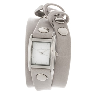 Via Nova Women's Silvertone Case Grey Leather Stud Wrap Watch