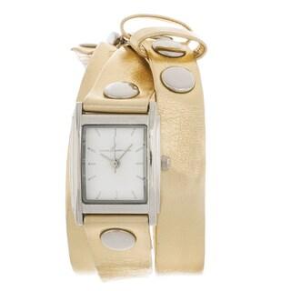 Via Nova Women's Silvertone Case Goldtone Leather Stud Wrap Watch