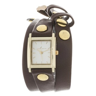 Via Nova Women's Goldtone Case Brown Leather Stud Wrap Watch