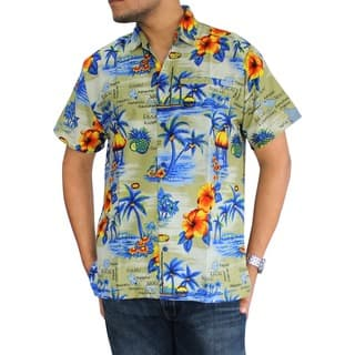 La Leela Men's Hawaiian Paradise Print Button-down Shirt Beach Swim Camp|https://ak1.ostkcdn.com/images/products/10076942/P17220384.jpg?impolicy=medium