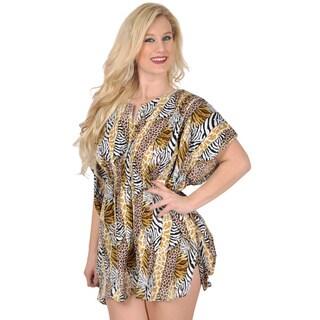 La Leela Vintage Beachwear SOFT LIKRE Kimono Tunic Short Bikini Cover up Mustard