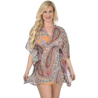 La Leela SHEER LIGHTWEIGHT CHIFFON Swimsuit Paisley Bikini Cover up Beach Dress TOP Red