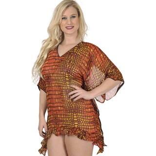 La Leela Swimwear SHEER LIGHTWEIGHT CHIFFON Beach Cover up Bikini Dress Orange
