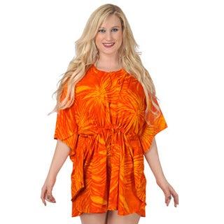 La Leela Bikini Cover up SMOOTH LIKRE Floral Drawstring Bikini Swimsuit Coverup Top Orange TUNIC