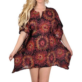 La Leela Women's Plus Size Sparkling Red Boho Soft Cotton Lightweight Tunic Top Coverup