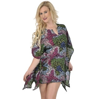 La Leela SUPER SOFT COTTON Beachwear Bikini Water Bubbles Cover up Dress Green