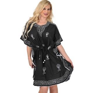 La Leela Black Rayon Hand Embroidered Tunic Bikini Cover up Swimsuit Black Kaftan