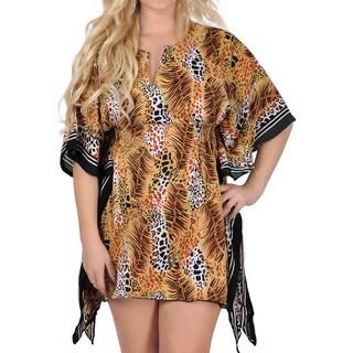 La Leela Animal Skin Printed Likre Beach Swimwear Swimsuit Bikini Cover up