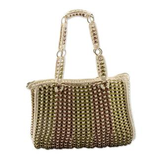 Handcrafted Soda Pop-top 'Golden Bronze Ipanema' Shoulder Bag (Brazil)