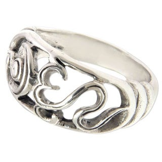 Om Kara Florid Handmade Artisan 925 Sterling Silver Men or Womens Band Ring (Indonesia)