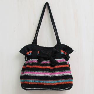 Handcrafted Wool 'Vibrant Cajamarca Carnival' Shoulder Bag (Peru)