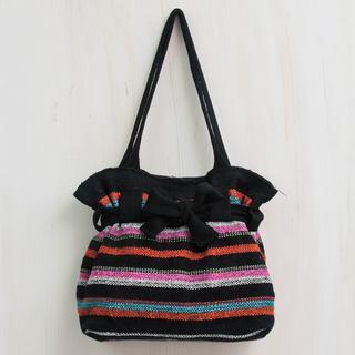 Handmade Wool 'Vibrant Cajamarca Carnival' Shoulder Bag (Peru)