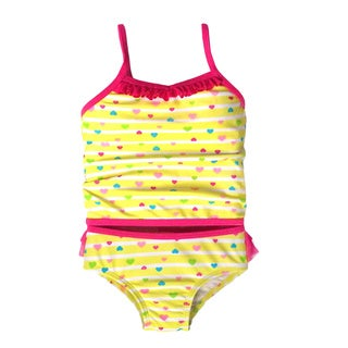 Jump'N Splash Small Girls Yellow Hearts Tankini Swimsuit