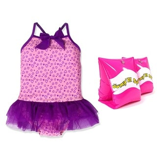 Jump'N Splash Small Girls Purple Hearts Tutu One Piece Swimsuit