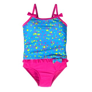 Jump'N Splash Small Girls Blue Confetti Bow Tankini Swimsuit