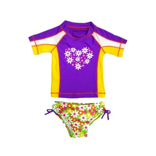 Jump'N Splash Girl's White Daisy Rash Guard Set