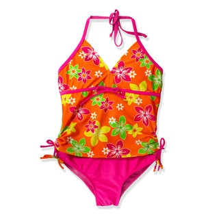 Jump'N Splash Girl's Orange Floral Tankini Swimsuit