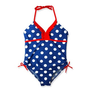 Jump'N Splash Girl's Navy Blue Polka Dot One Piece Swimsuit